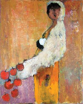 Innocent Sin Goli Mahallati 30 in. x 24 in. Acrylic on canvas