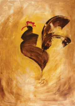 Rooster 10 (2013) Fariba Bahrami 40 in. x 28 in. Oil on canvas