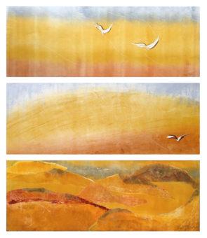 Kavir Triptych 1, 2, 3 [Triptych] (2010) Bayesteh Ghaffary each piece 34 in. x 15 in. [framed] Monotype+intaglio ink on archival paper