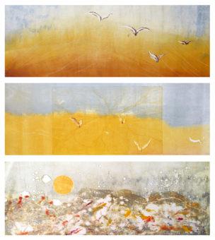 Kavir-e Lut 1, 2, 3 [Triptych] (2010) Bayesteh Ghaffary each piece 34 in. x 15 in. [framed] Monotype+intaglio ink on archival paper