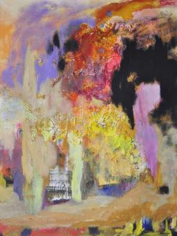 Temple (2012) Kamran Nikravan 48 in. x 36 in.  Mixed media + acrylic on canvas