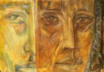 Three Faces (1997) Nima Petgar 28 in. x 20 in.  Oil + pastel on cardboard