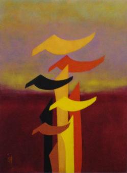 Seasons of Alef - Fall (2013) Shahla Etedali 40 in. x 30 in. Acrylic on canvas
