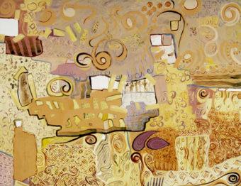 Ochre (2004) Mehri Dadgar 40 in. x 60 in. watercolor + acrylic on paper