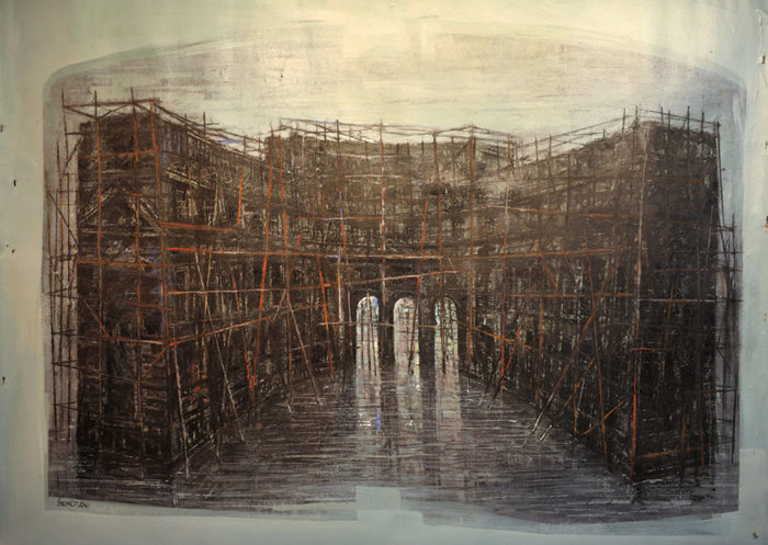 Admirality Arch (2014) Hossein Khosrojerdi 50.75 in. x 61.75 in. Mixed media on cardboard
