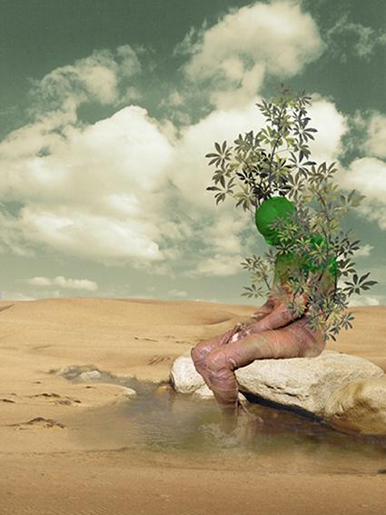 Sabr e Sabz (2004) Hossein Khosrojerdi 40 in. x 28 in. Digital painting on canvas
