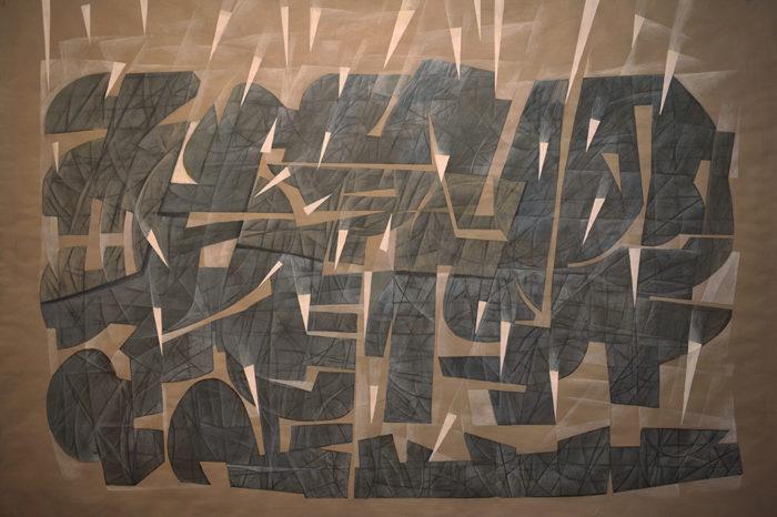 Rain (2014) Hossein Khosrojerdi 38 in. x 54 in. Acrylic + pen on cardboard