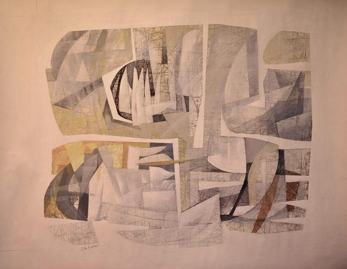 Niyaz (2014) Hossein Khosrojerdi 28 in. x 31.5 in. Acrylic + pen on cardboard
