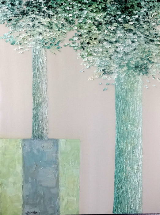 Two Abstract Trees (2014) Mahvash Joorabchi 40 in.  x 32 in. Oil on canvas