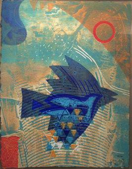 Vol Bleu Chahab 24 in. x 18 in. Etching