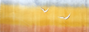 Kavir Triptych 1 [Triptych] (2010) Bayesteh Ghaffary each piece 34 in. x 15 in. [framed] Monotype+intaglio ink on archival paper