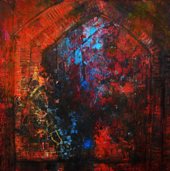 Reddish Tree (2014) Pooneh Jafarinejad 40 in. x 40 in. Mixed media on canvas