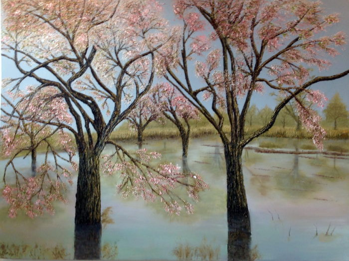 Joorabchi Spring Blossoms 120x80cm oil on can 2014